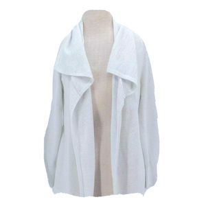 Loft Duster Mid-Length White/Silver Open Cardigan